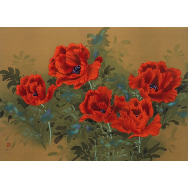"""David Lee, """"Poppies (9),"""" Lithograph - Image 1 of 2"""