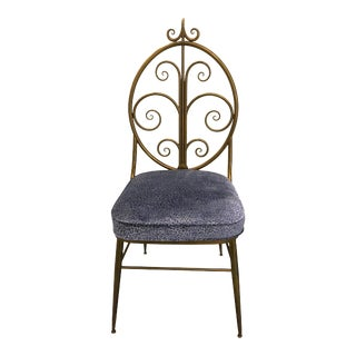 Italian Brass Chiavari Leopard Upholstered Chair For Sale