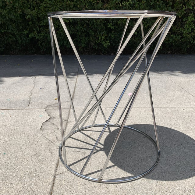 West Elm Random Base Chrome Side Table For Sale In Los Angeles - Image 6 of 6