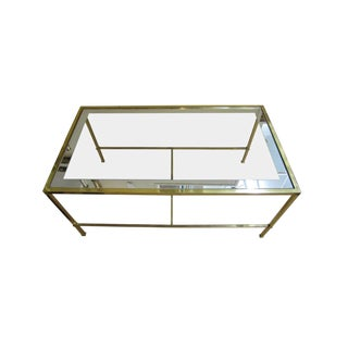 20th Century Contemporary Brass and Glass Cocktail/Coffee Table For Sale