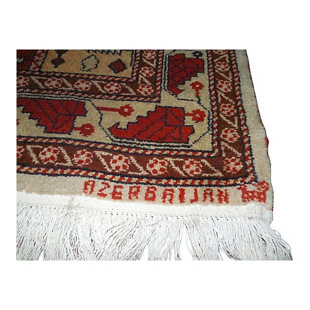 "Vintage Rust Striped Azerbaijani Rug - 4' x 5'8"" - Image 2 of 4"