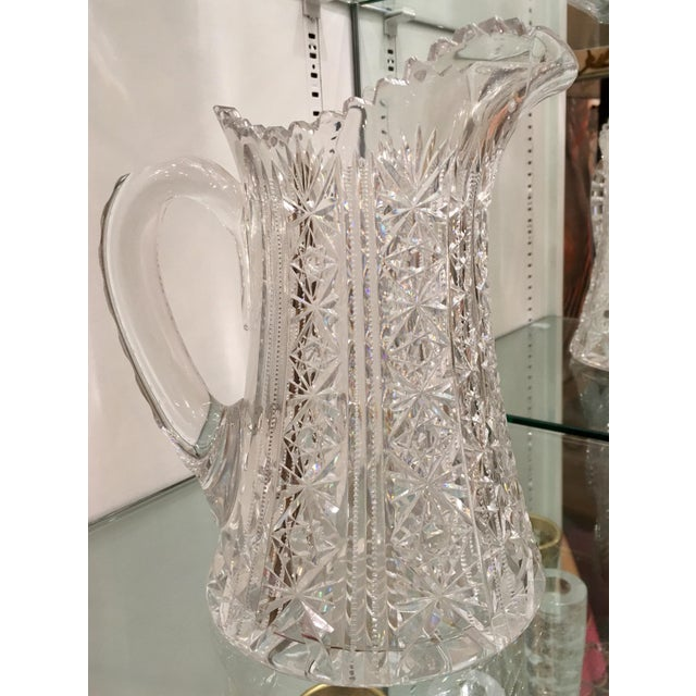 Traditional Antique American Star Cut Crystal Pitcher For Sale - Image 3 of 4