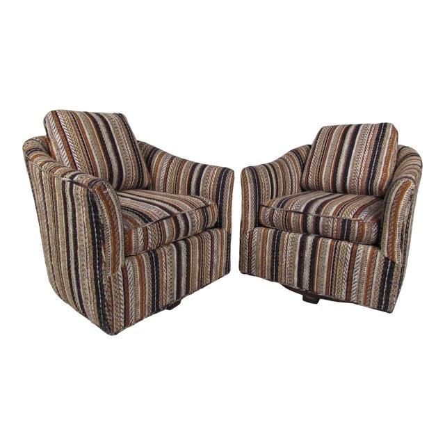 Surprising Pair Mid Century Modern Barrel Back Swivel Chairs Theyellowbook Wood Chair Design Ideas Theyellowbookinfo