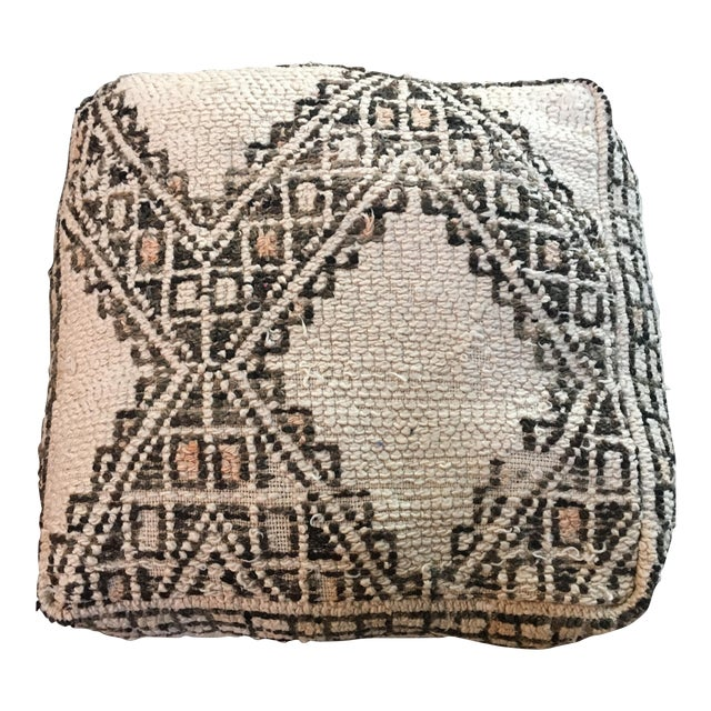 Cream & Brown Moroccan Floor Pouf - Image 1 of 4
