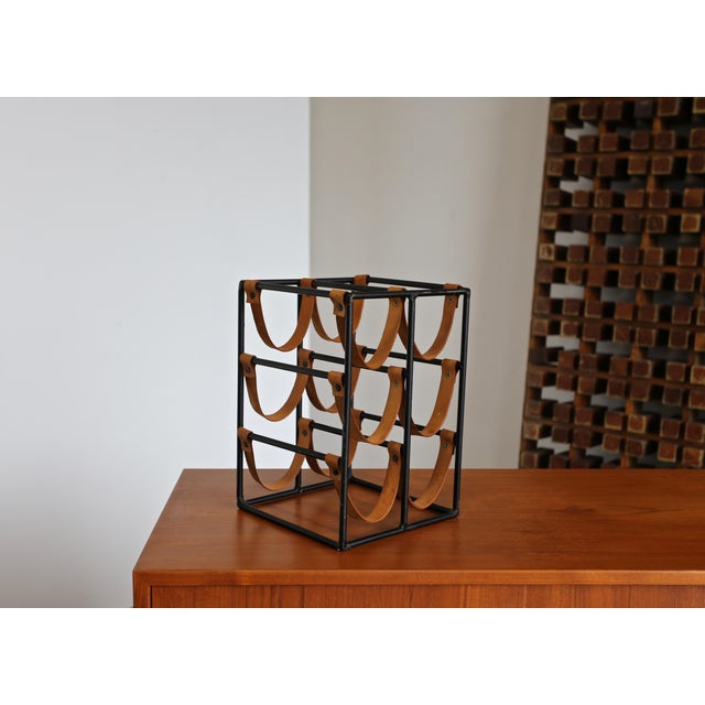 Mid 20th Century 1955 Arthur Umanoff Iron and Leather Straps Wine Rack For Sale - Image 5 of 9