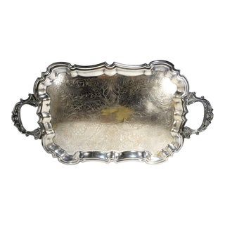 Vintage Silverplate Footed Butler's Serving Tray For Sale