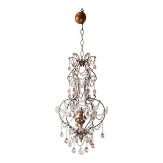 French Pink Drops Macaroni Bead Swags Chandelier For Sale