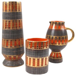 Fratelli Fanciullacci Mid-Century Italian Sgrafitto Pottery Vase - 3 Pieces For Sale