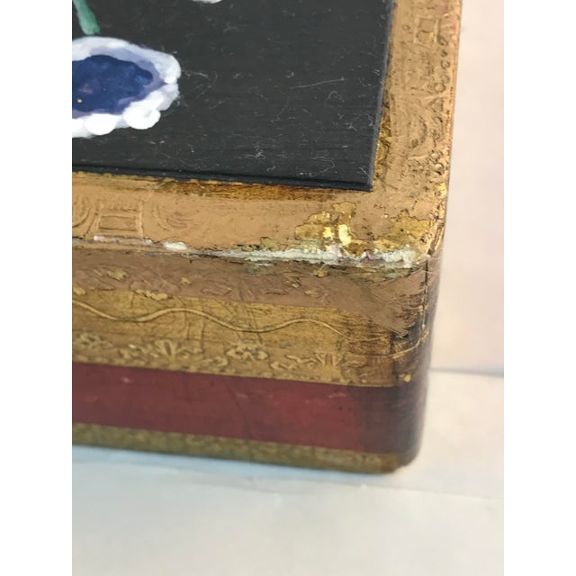 1970s Florence Italy Hand Painted Floral Gold Leaf Box For Sale - Image 5 of 9