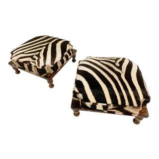 Vintage Footstools Restored in Zebra Hide - Pair For Sale