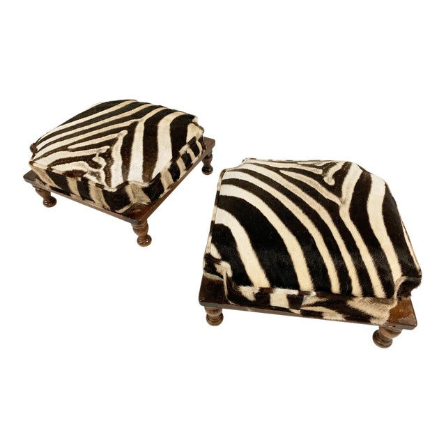 Vintage Footstools Restored in Zebra Hide - Pair For Sale