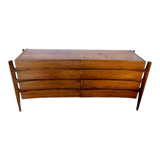 1950s Mid-Century Modern Fruitwood Lowboy Dresser For Sale