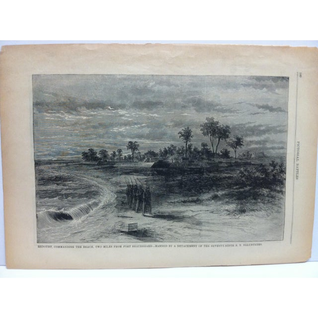 """This is an Antique Pictorial Battles of the Civil War Print that is titled """"Redoubt Commanding the Beach Two Miles from..."""