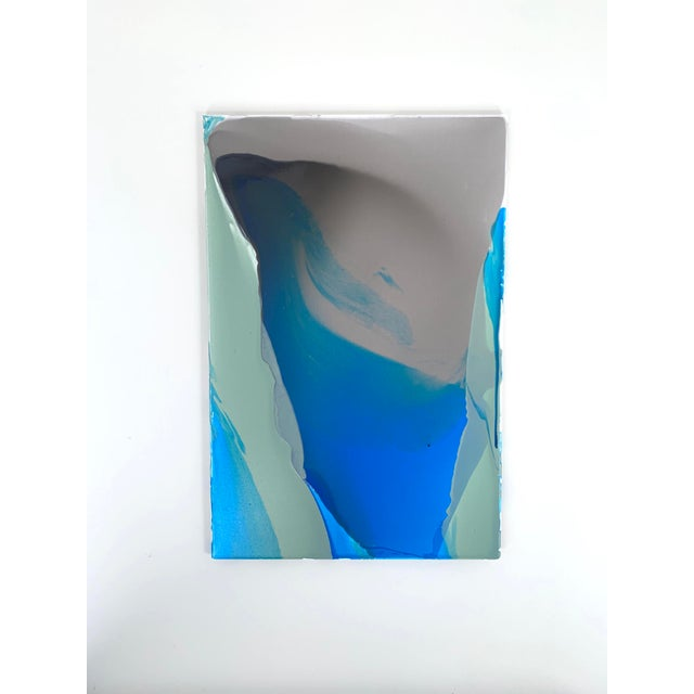 Blue Abstract Acrylic Glaze on Canvas Painting For Sale - Image 4 of 4