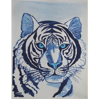 White Tiger Portrait Painting by Cleo Plowden For Sale