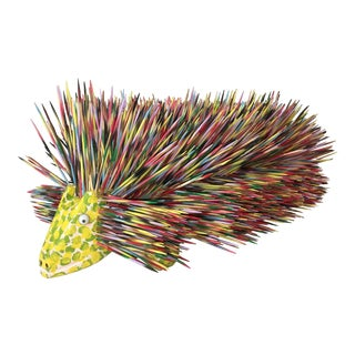 Late 20th Century j.l. Nipper Wood Porcupine Folk Art Sculpture For Sale