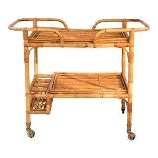 Mid-Century Rattan Bar Cart For Sale