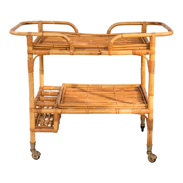 Mid-Century Rattan Bar Cart For Sale