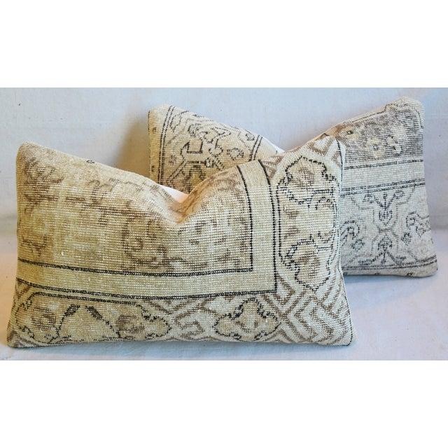 "Antique Soumak Carpet Wool Feather/Down Pillows 26"" X 16"" - Pair For Sale - Image 13 of 13"
