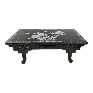 Vintage Chinese Black Lacquer and Mother of Pearl Inlayed Rectangular Coffee Table For Sale