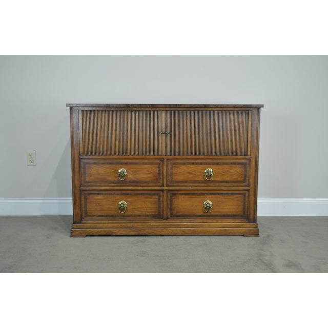 Regency Style Custom Quality Tambour Door Chest For Sale - Image 9 of 13