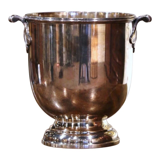 19th Century French Silver Plated Over Brass Champagne or Wine Cooler Bucket For Sale