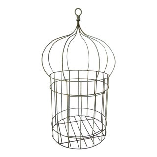 Vintage Shabby Chic French Balloon Shaped Bird Cage For Sale