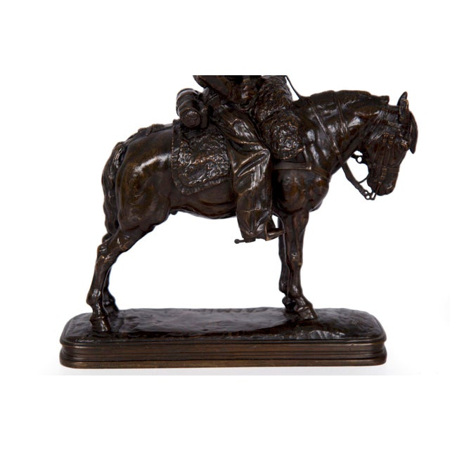 Antique French Bronze Sculpture of a Soldier on Horseback by Emmanuel Fremiet For Sale - Image 10 of 13