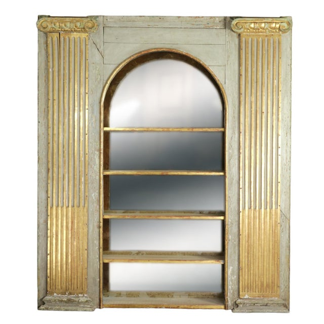 1820s Whimsical Painted Italian Architectural Element Fitted as a Bookshelf With Gilded Ionic Columns For Sale - Image 9 of 9