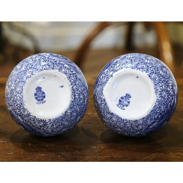Blue Early 20th Century English Blue and White Painted Faience Delft Vases - a Pair For Sale - Image 8 of 11