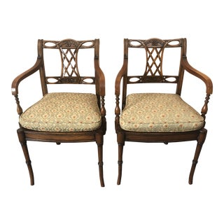 Mahogany Armchairs With Caned Seats and Custom Cushions -Pair For Sale