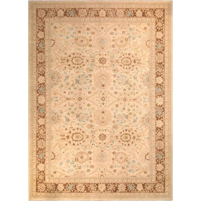 "Kafkaz Peshawar Jasmine Ivory & Brown Wool Rug - 9'11"" x 13'9"" For Sale"