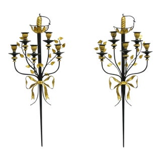 Vintage Italian Regency Black & Gold Iron Tole Sword Candle Wall Sconces-a Pair For Sale