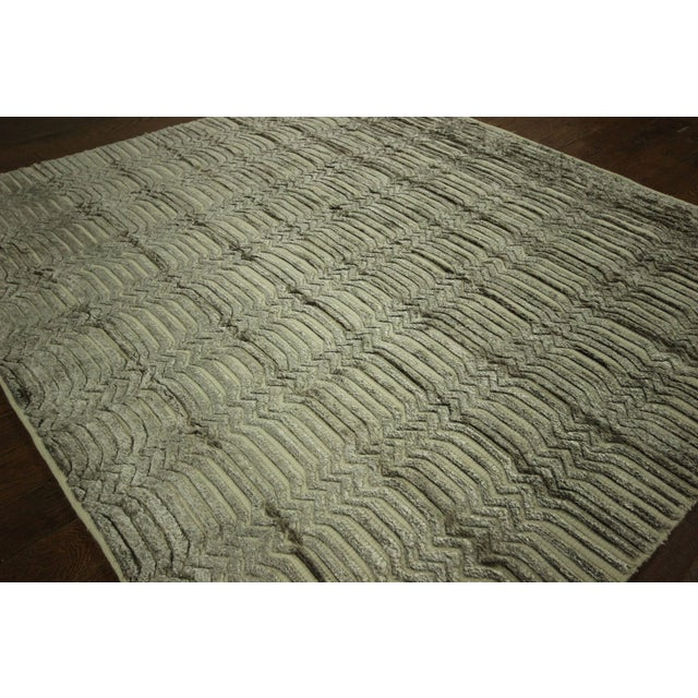 "Wool & Silk Pile Gray Moroccan Rug - 7'4"" x 8'2"" - Image 4 of 10"