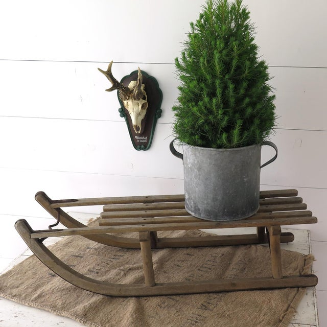 This vintage German Davos sled is perfect for a table top display! Use as a small Christmas tree stand or any other...