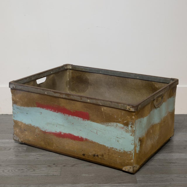 Blue Large Vulcanized Canvas Factory Bin C.1948 For Sale - Image 8 of 8