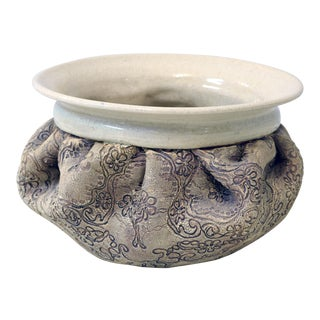 20th Century Contemporary Taupe and Beige Ceramic Bowl For Sale
