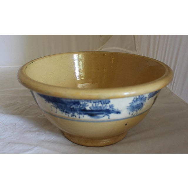 A wonderful blue sponge decorated mixing bowl with original estate stamp still attached: The Andy Warhol Collection, lot...