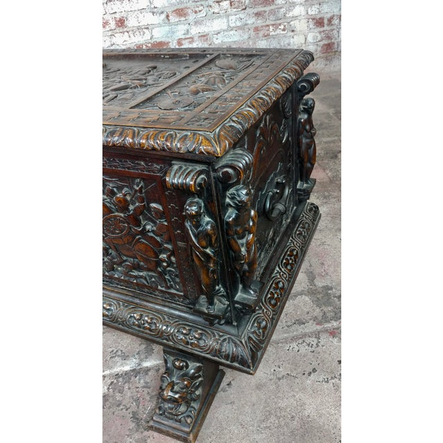 Wood 18th Century Highly Carved Italian Renaissance Cassone For Sale - Image 7 of 11