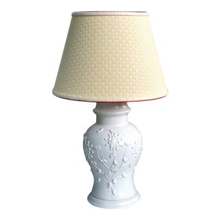 Large Vintage Off White Lamp Yellow Fabric Lampshade For Sale
