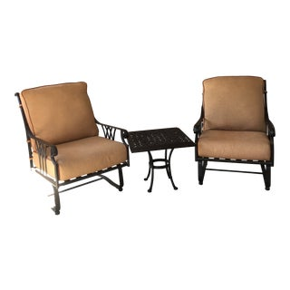 Owlee Montrachet Spring Base Club Patio Chairs & Table - Set of 3 For Sale