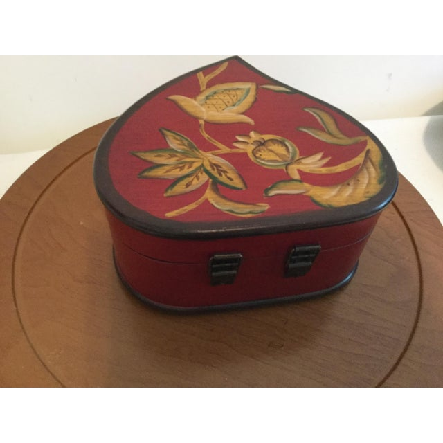 Hand Painted Decorative Wooden Heart Shaped Box For Sale - Image 4 of 5