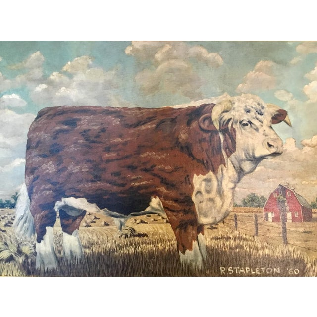 American Hereford Bull ~ Oil on Canvas For Sale - Image 3 of 12