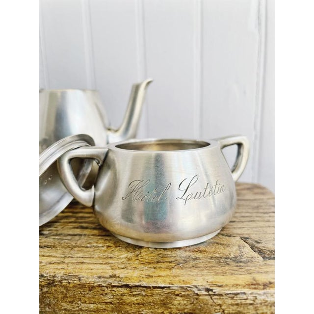 Silver Antique Silver Plated Childs Tea Set From Hotel Lutetia Paris For Sale - Image 8 of 13