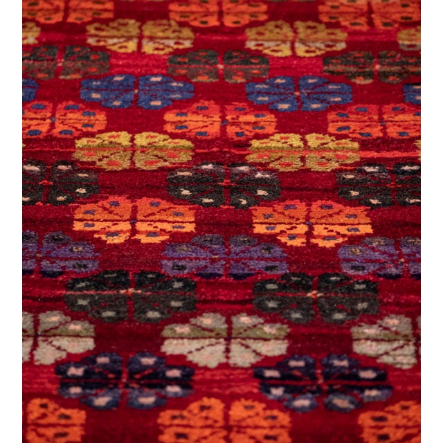 Mid 20th Century Vintage Floral Tomato-Red Handwoven Wool Turkish Rug For Sale In Los Angeles - Image 6 of 9