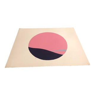 Pink, Purple & Light Blue Colored Minimalist Hand-Painted Serigraph 13/16 by Geoffrey Graham For Sale