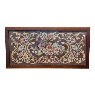 Vintage Custom Framed Burgundy + Floral Needlepoint For Sale