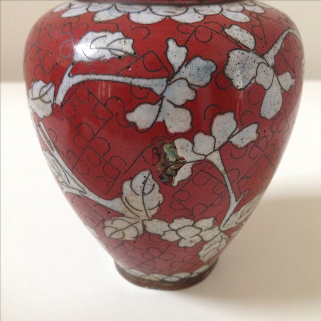 Red Cloisonne Vases - Pair - Image 6 of 11