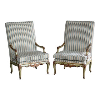 Danish Bergere Highback Chairs - A Pair