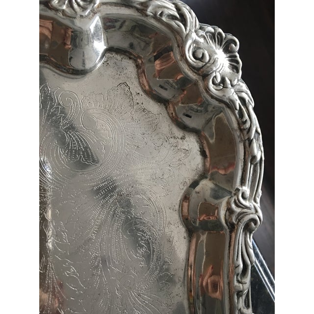 Silver Plate Victorian Footed Buttler's Tray For Sale - Image 4 of 8